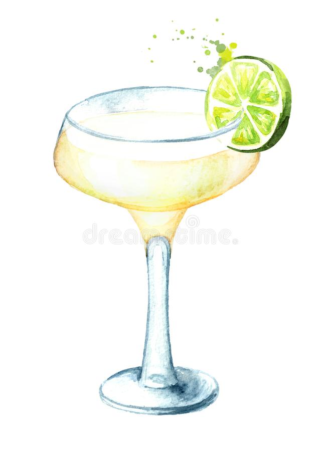 Alcohol cocktail Daiquiri with lime. Watercolor hand drawn illustration isolated on white background stock illustration