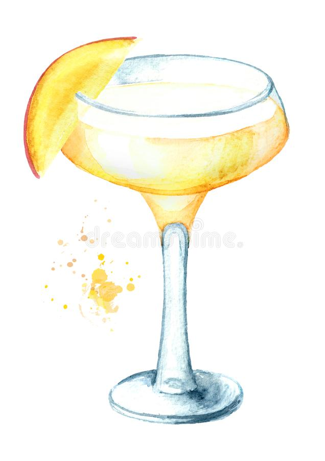 Alcohol cocktail Daiquiri with mango. Watercolor hand drawn illustration isolated on white background royalty free illustration