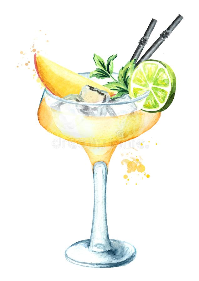 Alcohol cocktail Daiquiri with mango. Watercolor hand drawn illustration, isolated on white background vector illustration