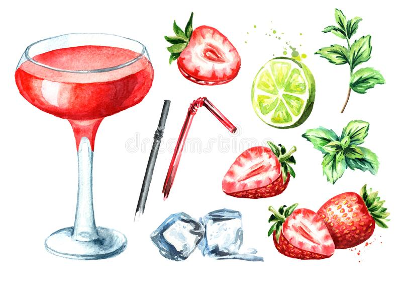 Alcohol cocktail Daiquiri with strawberry and decor set. Watercolor hand drawn illustration isolated on white background stock illustration