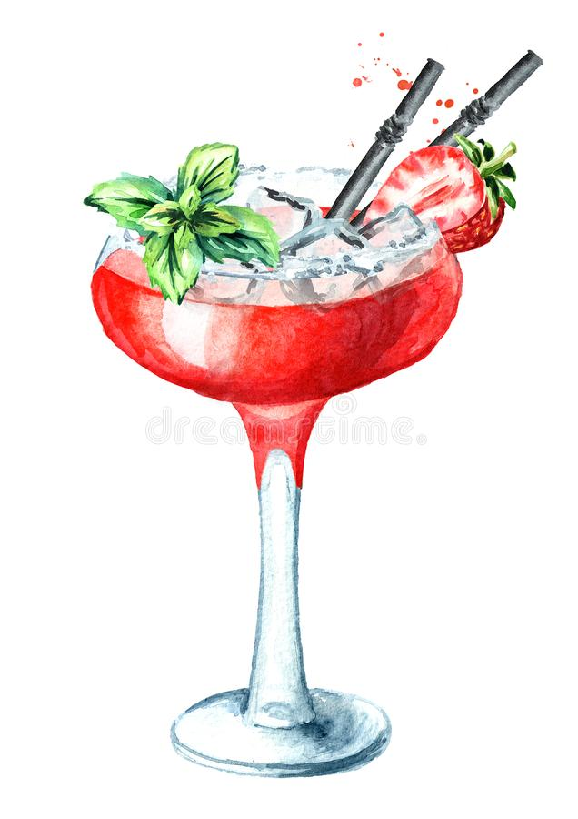 Alcohol cocktail Daiquiri with strawberry and decor. Watercolor hand drawn illustration isolated on white background royalty free illustration