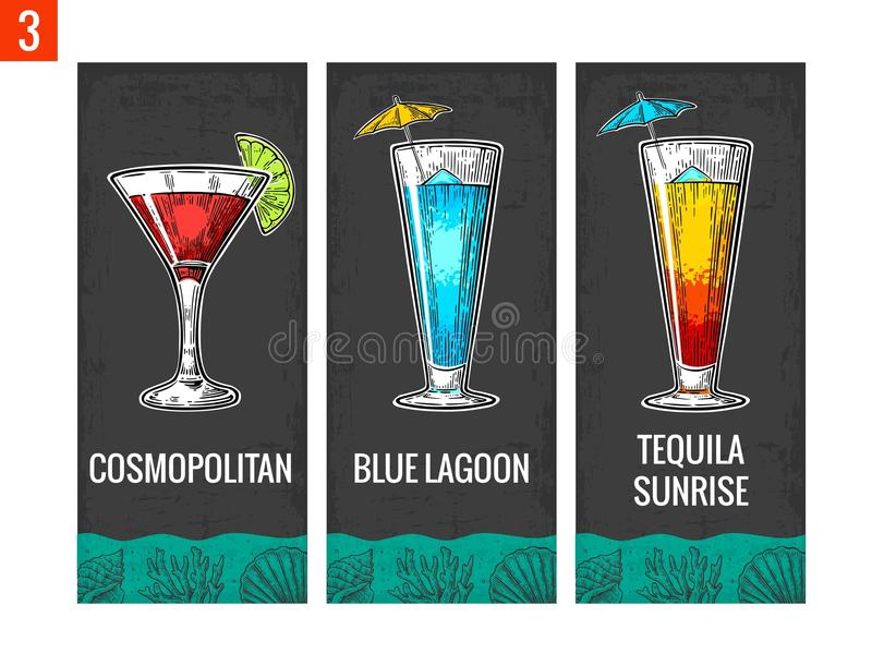 Alcohol cocktail set. Cosmopolitan, blue lagoon and tequila sunrise. Vintage vector engraving illustration for web, poster, menu,. Invitation to summer beach stock illustration