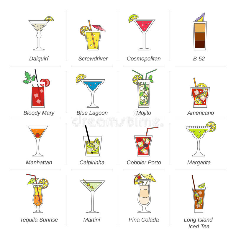 Alcohol Cocktails Icons Flat Line. Set with mojito bloody mary manhattan isolated vector illustration stock illustration