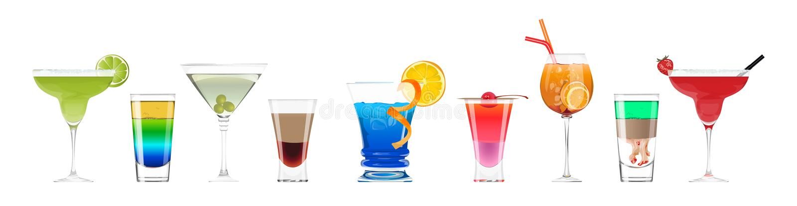 Alcohol cocktails set. Alcohol cocktails set on white background. Colorful drinks with fruits and decorations stock illustration