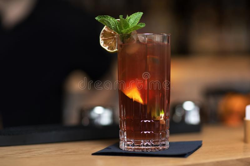 Alcohol coctail drink on the table in restauran stock photos