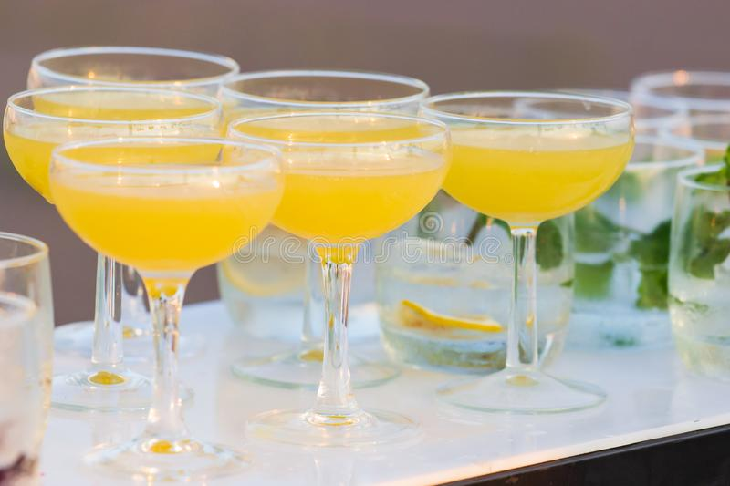 Alcohol coctail drink on the table in restaurant royalty free stock photography
