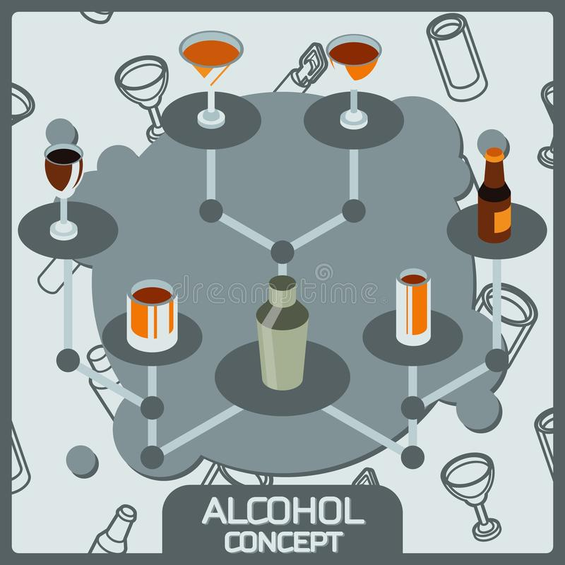 Alcohol color concept isometric icons vector illustration