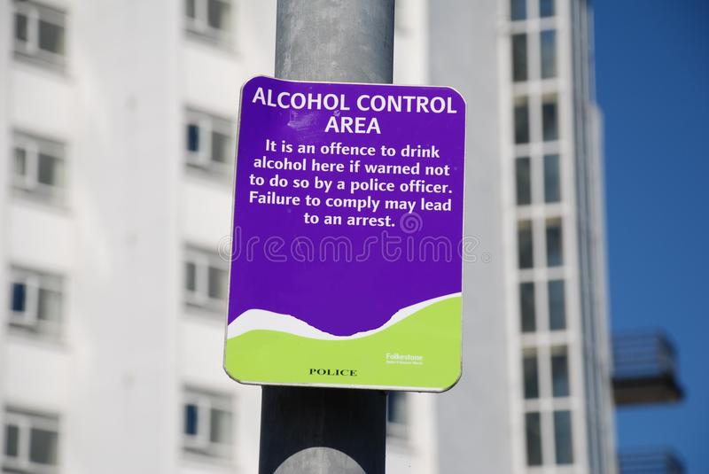 Alcohol Control Area sign, Folkestone. Alcohol Control Area signage in the town centre of Folkestone in Kent, England royalty free stock images