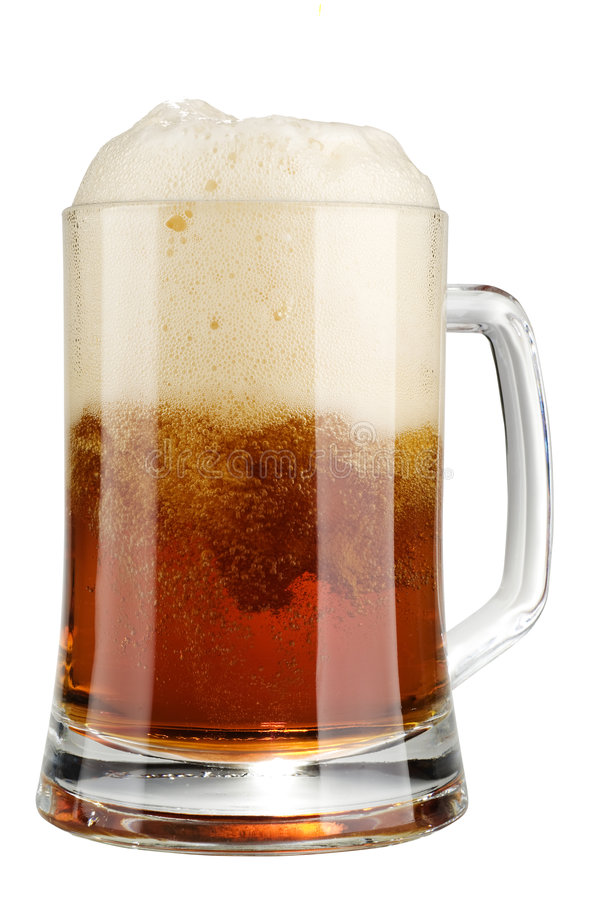 Alcohol dark beer glass with froth isolated stock photos