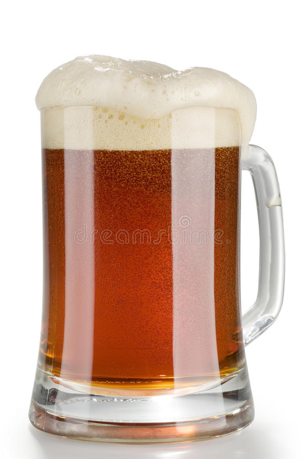 Alcohol dark beer glass with froth isolated royalty free stock photo