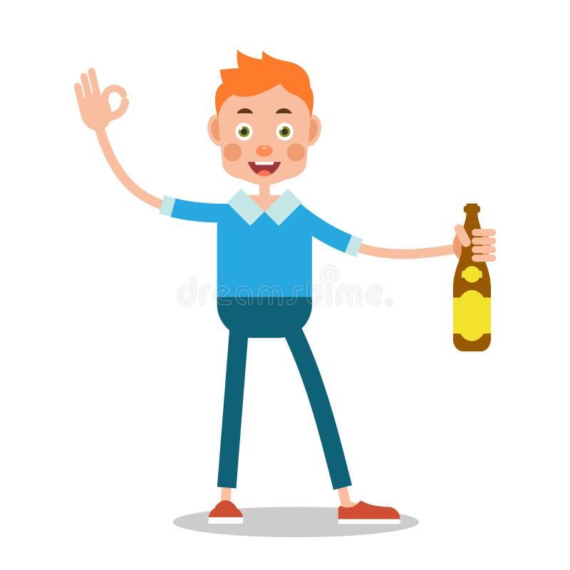 Alcohol de consumición del hombre Concepto de la celebración El muchacho está llevando a cabo un bott ilustración del vector