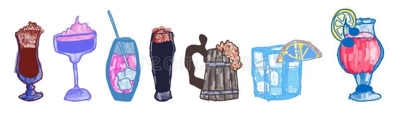 Alcohol del garabato en imágenes de los vidrios en color libre illustration