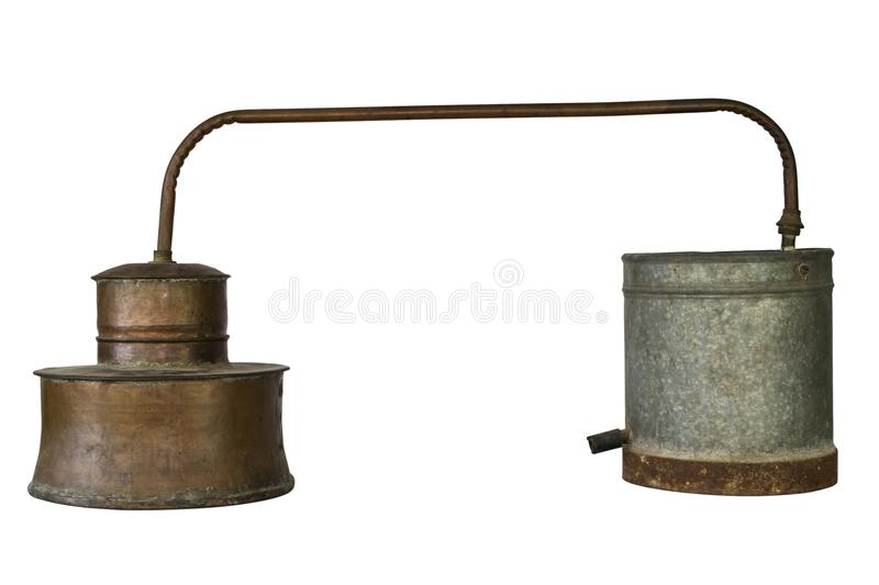 Alcohol Distillery For Making Schnapps, Whiskey, Brandy. Traditional Copper Set royalty free stock photography