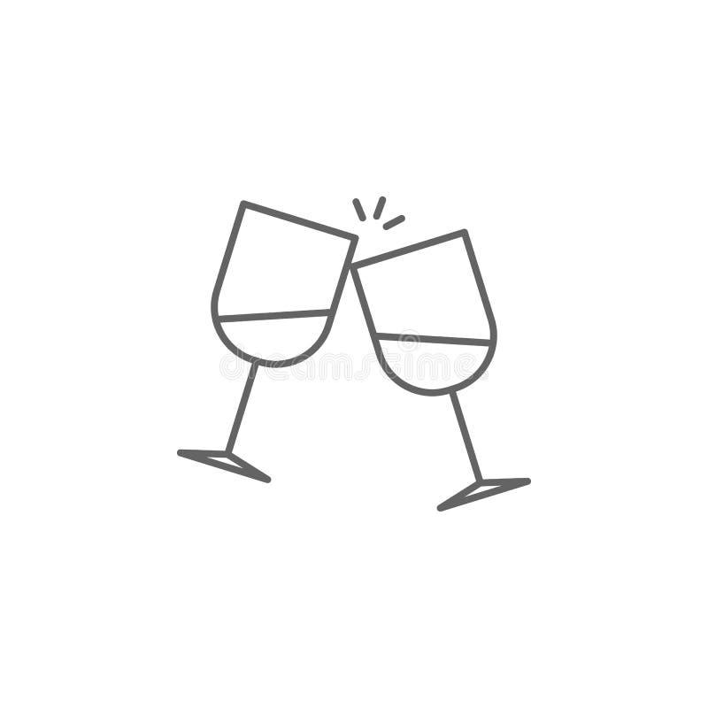 Alcohol, dos vidrios, icono de los amigos Elemento del icono de la amistad L?nea fina icono para el dise?o y el desarrollo, desar libre illustration