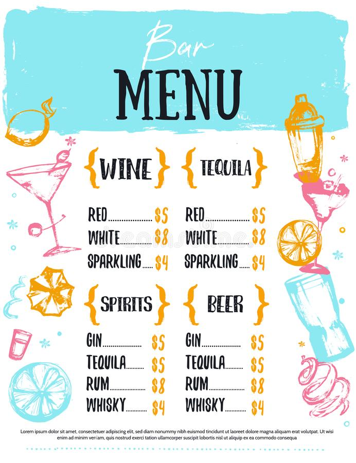 Alcohol drink bar menu with sketch glasses, drinks. Colorful grunge drawing style. Template design on white background stock illustration