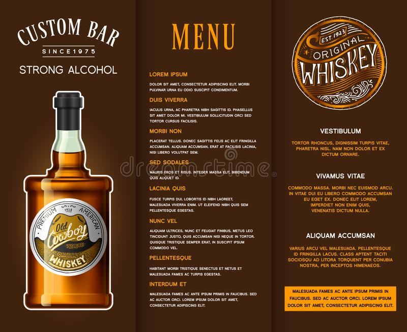 Alcohol drink in a bottle. Banner or brochure with vintage labels. Realistic Whiskey. Vector illustration template for royalty free illustration