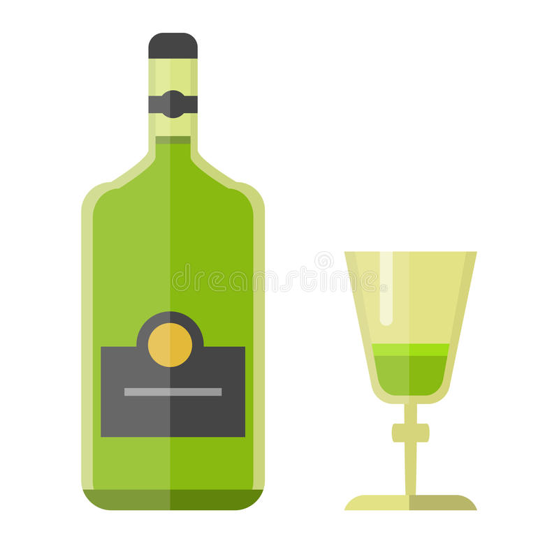 Alcohol drink bottle. Isolated on white background vector illustration