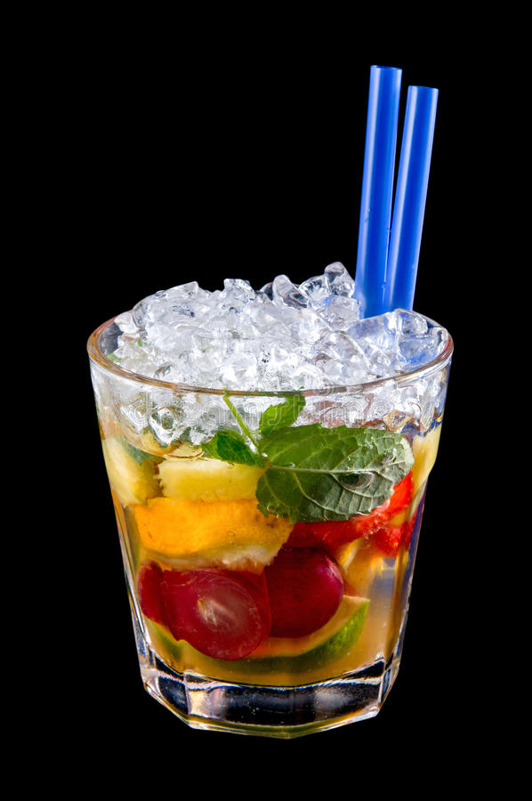 Alcohol Drink, Cocktail With Fruits, Ice, Isolated Black Royalty Free Stock Image