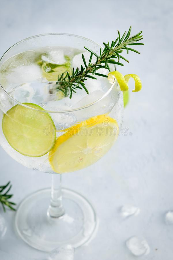Alcohol drink gin tonic cocktail with lemon, lime, rosemary and ice on light background, copy space. Iced drink royalty free stock images
