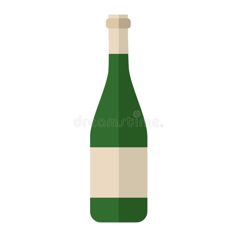 Alcohol drink wine bottle vector. Alcohol drink bottle isolated on white background. Wine beverage celebration grape merlot. Gourmet restaurant party alcohol royalty free illustration