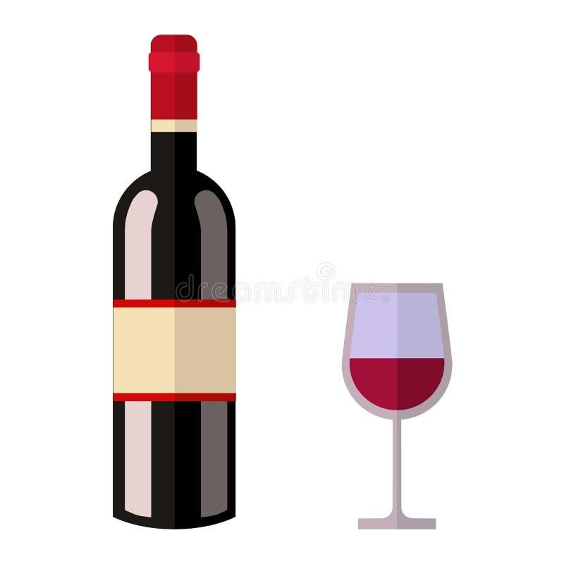 Alcohol drink wine bottle vector. Alcohol drink bottle isolated on white background. Wine beverage celebration grape merlot. Gourmet restaurant party alcohol vector illustration