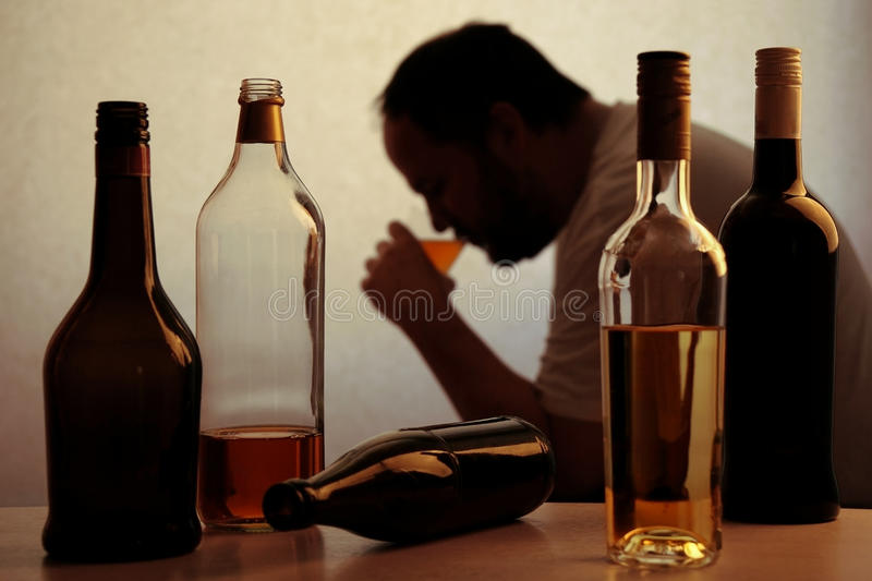 Alcohol drinking problem royalty free stock photos