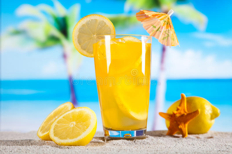 Alcohol drinks, beach background, natural colorful tone stock images