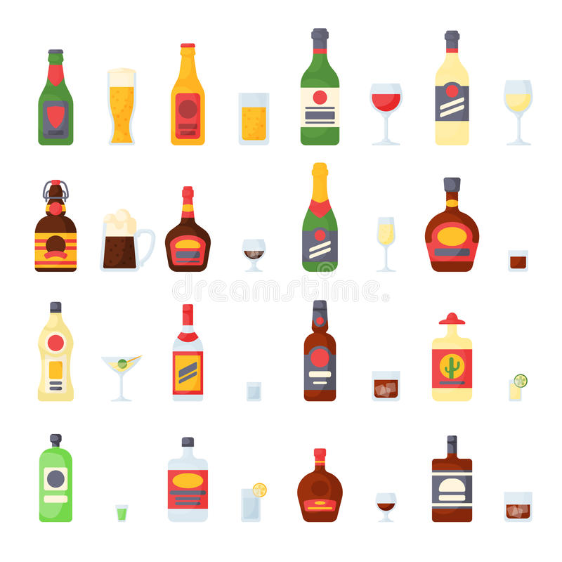 Alcohol drinks in bottles cocktail glasses whiskey cognac brandy beer champagne wine vector collection royalty free illustration