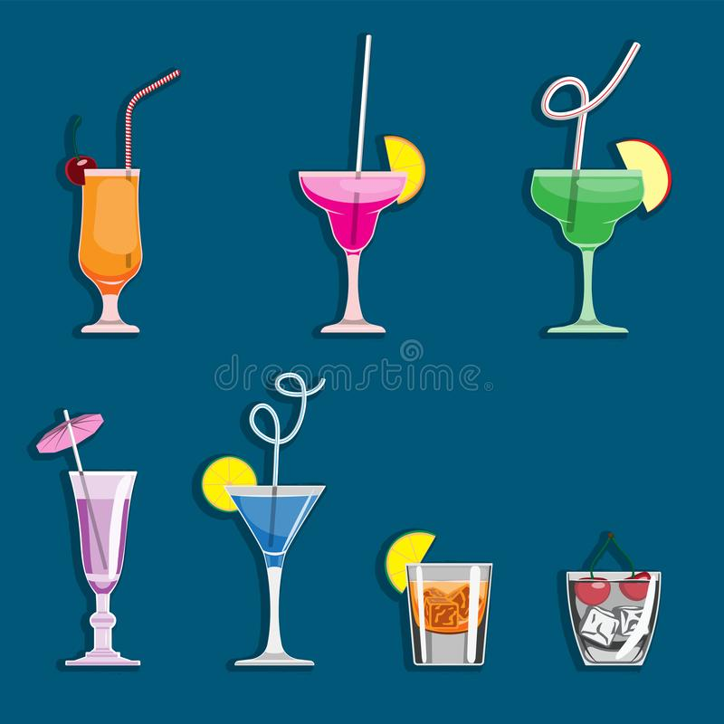 Alcohol drinks and cocktails icon set in flat design style. Vector illustration royalty free illustration