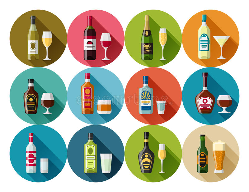 Alcohol drinks icon set. Bottles, glasses for restaurants and bars royalty free illustration