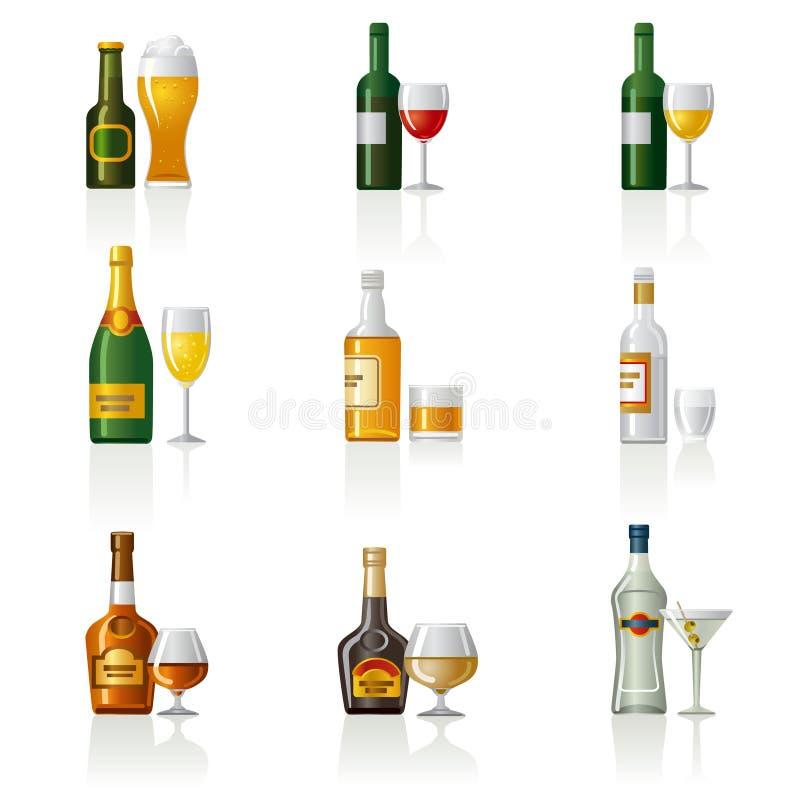 Alcohol drinks icon set royalty free illustration