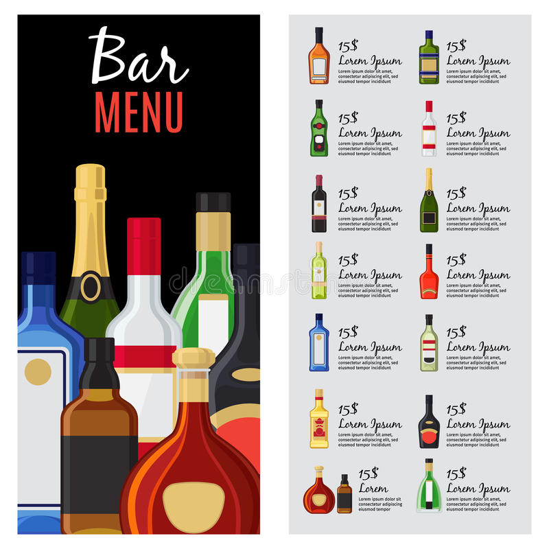 Alcohol Drinks Menu Template Stock Vector - Illustration of card ...