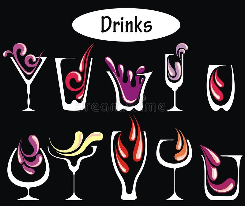 Alcohol drinks set royalty free stock images