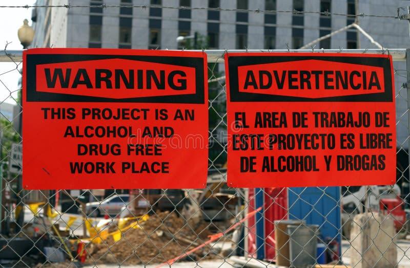 Alcohol, drug-vrije werkplaats stock fotografie