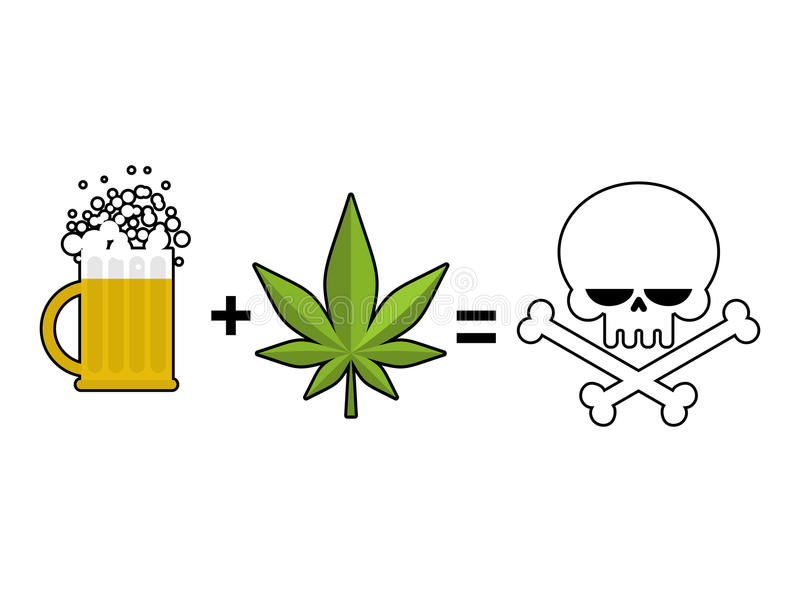 Alcohol And Drugs Is Death Mug Of Beer And Marijuana Leaf Is Eq
