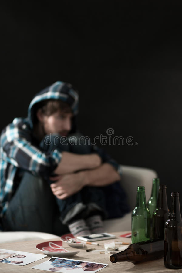 Alcohol and drugs at home royalty free stock image