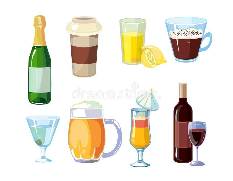 Alcohol en niet alcoholische dranken met flessen, glazenvector royalty-vrije illustratie