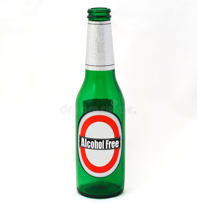 Alcohol Free. An empty beer bottle with Alcohol Free written on the label royalty free stock image