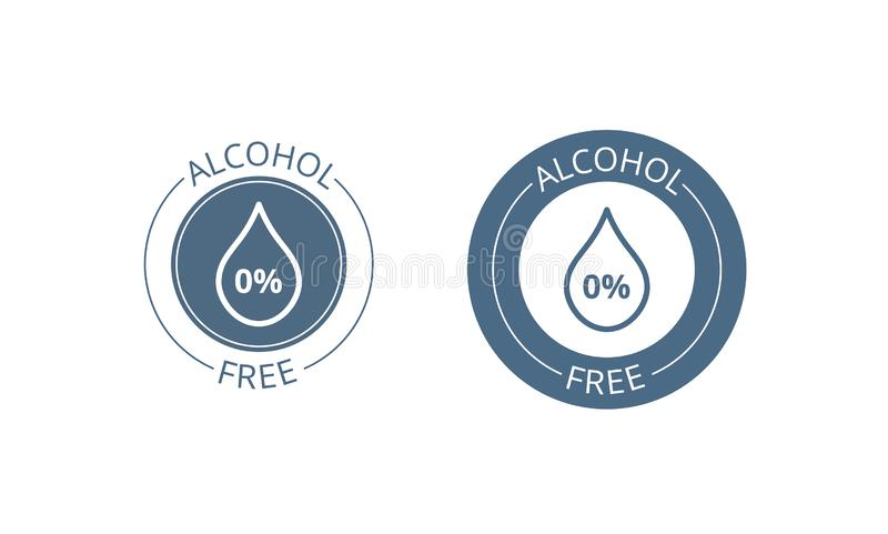 Alcohol free icon set. Skin and body care cosmetic product medical alcohol free drop and percent symbol. Isolated on white vector illustration