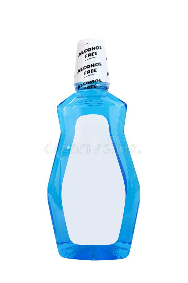 Alcohol Free Mint Mouthwash Rinse. Front view of alcohol free bottle of blue mint mouthwash rinse with blank label. Isolated stock photography