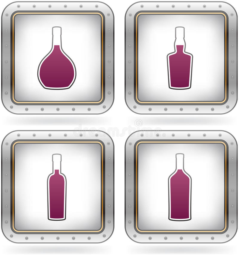 Alcohol glasses. Range of alcohol bottles from beer to vodka. Pictured here (left-top, right-top, left-down, right-down): brandy, brandy, vodka, tequila (part of royalty free illustration