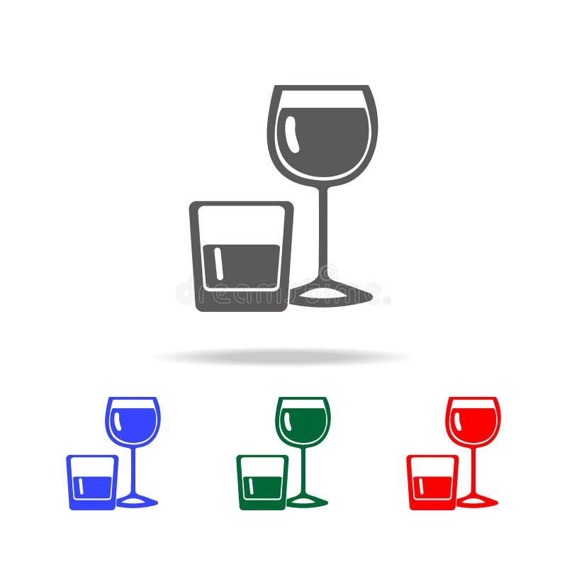 Alcohol in glazenpictogram Elementen van disco en nacht het levens multi gekleurde pictogrammen Grafisch het ontwerppictogram van stock illustratie