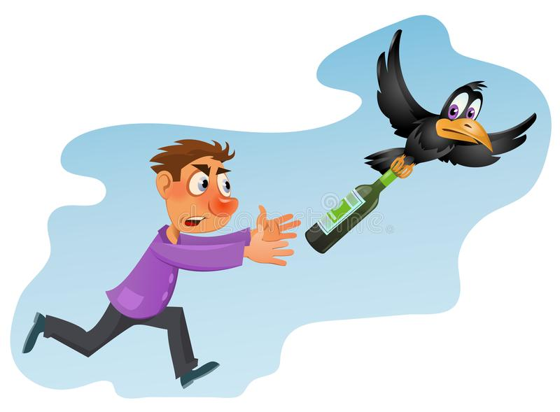 Alcohol is harmful to health. Drunk man trying to catch crow. With bottle of alcohol. Cartoon styled vector illustration. Elements is grouped and divided into stock illustration