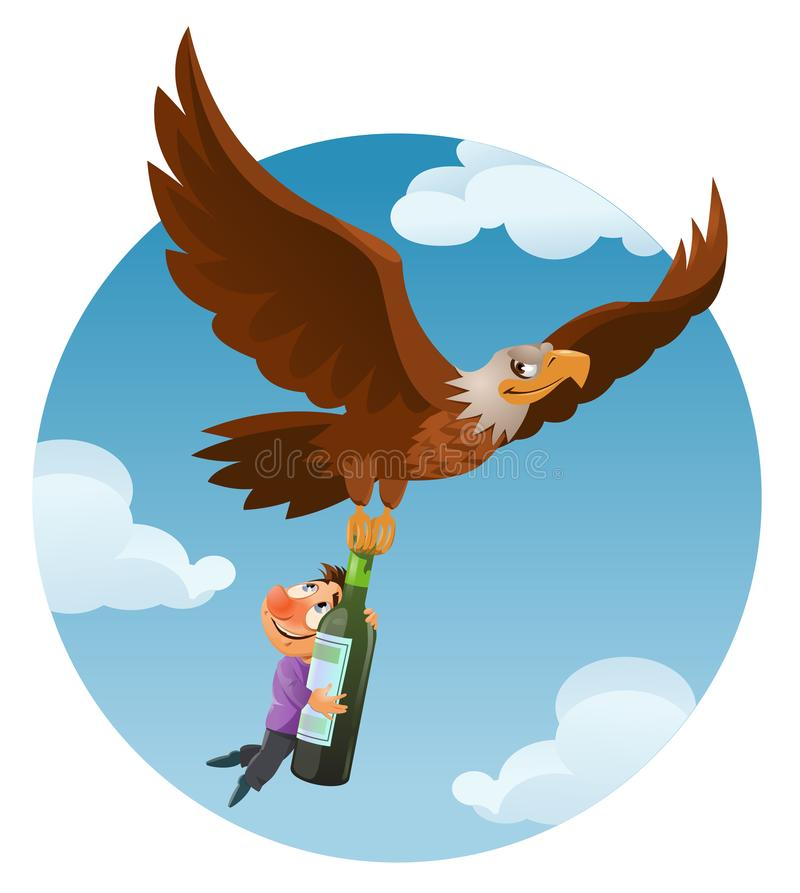 Alcohol is harmful to health. Huge flying American eagle holds t royalty free illustration