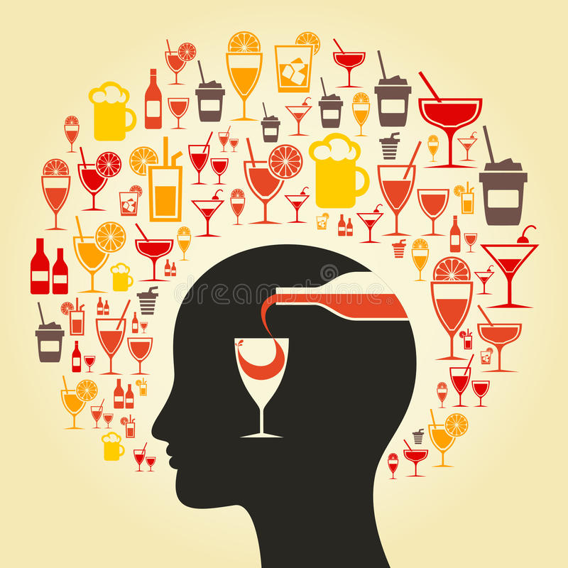 Alcohol a head. Alcohol choice in a head. A vector illustration royalty free illustration