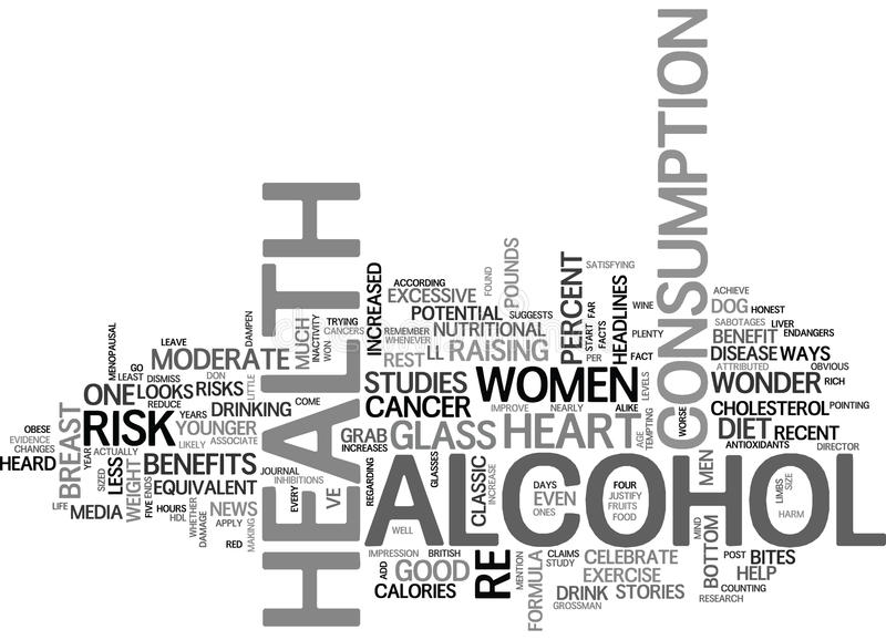 Alcohol Health Benefit Or Health Risk Word Cloud. ALCOHOL HEALTH BENEFIT OR HEALTH RISK TEXT WORD CLOUD CONCEPT stock illustration