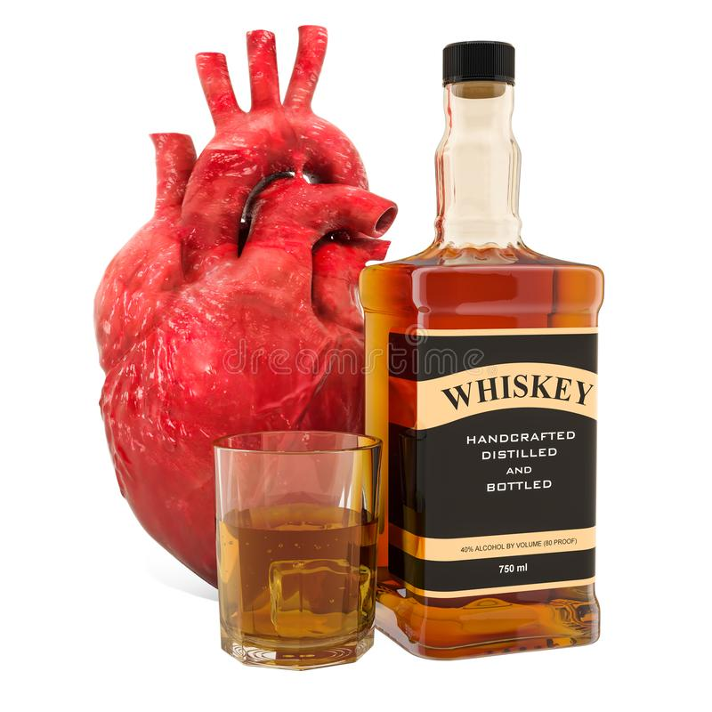 Alcohol and heart disease concept, human heart with alcohol drink. 3D rendering royalty free illustration