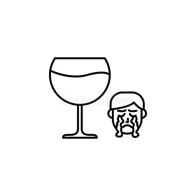 Alcohol, icono alérgico de la cara Elemento de problemas con el icono de las alergias Línea fina icono para el diseño y el desarr stock de ilustración