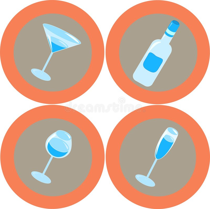 Alcohol icons 1 vector illustration