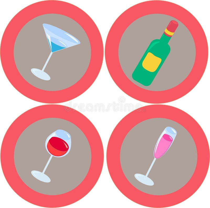 Alcohol icons 3 vector illustration
